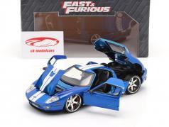 Ford GT Film Fast and Furious 7 2015 blu / bianca 1:24 Jada Toys