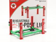 Ajustable four post Plataforma elevadora Texaco verde / rojo 1:18 Greenlight