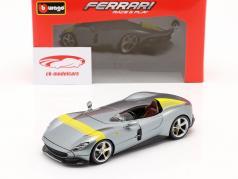 Ferrari Monza SP1 Ano de construção 2019 cinzento metálico / amarelo 1:24 Bburago