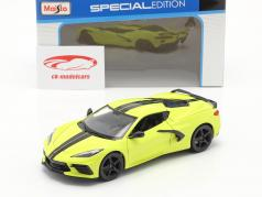 Chevrolet Corvette C8 Stingray Coupe Z51 year 2020 yellow / black 1:24 Maisto