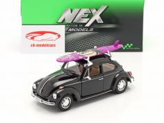 Volkswagen VW Käfer Hard Top 1959 zwart Met Purper surfplank 1:24 Welly