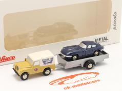 3-Car Set Land Rover と トレーラー そして Jaguar E-Type 1:90 Schuco Piccolo