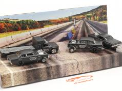 4-Car Set Black Hole Gassers estera gris oscuro 1:64 HotWheels