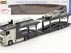 Mercedes-Benz Actros transporte de coches con VW Polo GTI oro / negro / gris metálico 1:43 Bburago