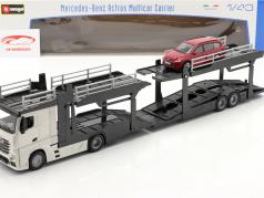 Mercedes-Benz Actros Multicar Carrier og Ford Focus hvid / rød 1:43 Bburago
