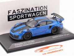 Porsche 911 (991 II) GT2 RS Weissach pakket 2018 voodoo blauw / zwart velgen 1:43 Minichamps