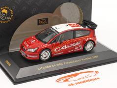 Citroen C4 WRC презентация Тестовая машина 2006 красный / белый 1:43 Ixo