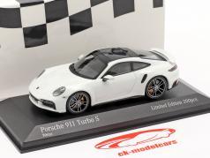 Porsche 911 (992) Turbo S 2020 白い / 銀 リム 1:43 Minichamps