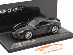 Porsche 718 (982) Boxster Spyder Byggeår 2020 sort 1:43 Minichamps