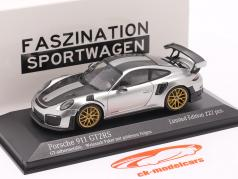 Porsche 911 (991 II) GT2 RS Weissach Package 2018 GTシルバーメタリック / ゴールデン リム 1:43 Minichamps