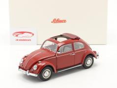 Volkswagen VW Kever Met Opklapbaar dak Bouwjaar 1963 rood 1:18 Schuco