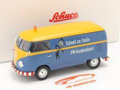 Volkswagen VW Type 2 T1b Van VW Kunde service blå / gul 1:32 Schuco