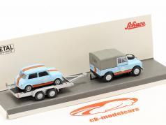3-Car Set British Racing: Land Rover 88 Med Anhænger og Mini 1:87 Schuco