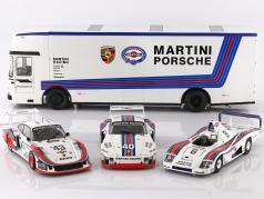 Mercedes-Benz O 317 Gara Auto Trasportatore Porsche Martini Racing bianca 1:18 CMR