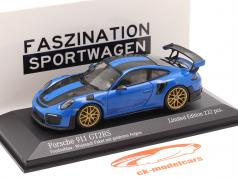 Porsche 911 (991 II) GT2 RS Weissach Package 2018 巫毒蓝 / 金的 轮辋 1:43 Minichamps