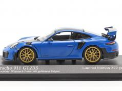 Porsche 911 (991 II) GT2 RS Weissach Package 2018 voodoo blue / golden rims 1:43 Minichamps