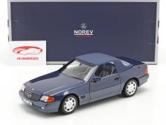 Mercedes-Benz 500 SL Cabriolet Année de construction 1989 bleu métallique 1:18 Norev
