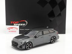Audi RS 6 Avant (C8) Carbon Black Edition 2020 Daytona グレー 1:18 TrueScale