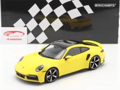 Porsche 911 (992) Turbo S Byggeår 2020 gul 1:18 Minichamps