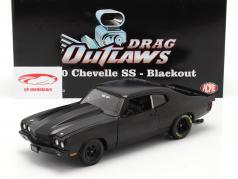 Chevrolet Chevelle SS Blackout Drag Outlaws 1970 estera negro 1:18 GMP