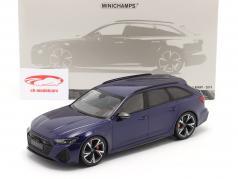 Audi RS 6 Avant (C8) Año de construcción 2019 azul metálico 1:18 Minichamps