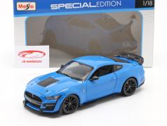 Ford Mustang Shelby GT500 Byggeår 2020 blå 1:18 Maisto