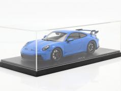 Porsche 911 (992) GT3 Bouwjaar 2021 shark blue Met Showcase 1:18 Minichamps