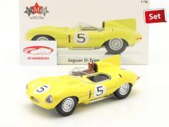 Set: Jaguar D-Type #5 第四名 24h LeMans 1956 和 驾驶员身影 1:18 CMR