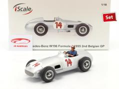 Set: S. Moss Mercedes-Benz W196 #14 formula 1 1955 Con Figura del conducente blu camicia 1:18 iScale