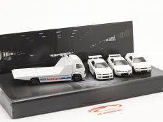 4-Car Set Nissan: Flatbed Truck & 3x Nissan Skyline white 1:64 HotWheels