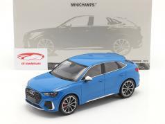 Audi RS Q3 Sportback (F3) Ano de construção 2019 azul metálico 1:18 Minichamps