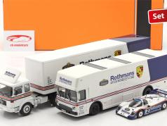 3-Car Set Rothmans: 2x Race Car Transporter Med Porsche 956K 1:43 Schuco / Ixo / CMR