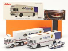 3-Car Set Rothmans: 2x Race Car Transporter と Porsche 956K 1:43 Schuco / Ixo / CMR