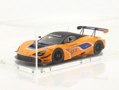 McLaren 720S GT3 2019 #03 laranja / azul Com Mostruário 1:18 Spark