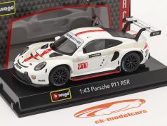 Porsche 911 RSR GT #911 白色的 / 红色的 1:43 Bburago