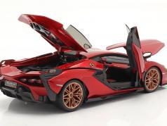 Lamborghini Sian FKP 37 Год постройки 2019 красный / чернить 1:18 Bburago