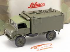 Mercedes Benz Unimog 404 S caja camioneta Vehículo militar aceituna 1:35 Schuco
