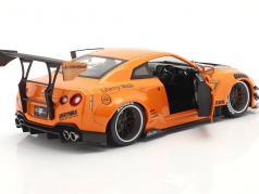 LB Works Nissan GT-R (R35) Type 2 oranje metalen 1:18 Solido