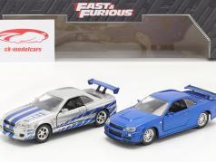 2-Car Set Brian's Nissan Skyline GT-R Fast & Furious blu / argento 1:32 Jada Toys