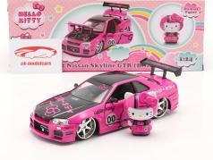 Nissan Skyline GT-R (BNR34) 2002 Hello Kitty Rosa / negro 1:24 Dickie Toys