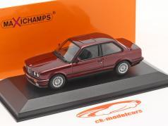 BMW 3 Series (E30) Ano de construção 1989 Sombrio vermelho metálico 1:43 Minichamps