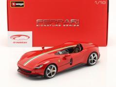 Ferrari Monza SP1 Byggeår 2019 rød 1:18 Bburago