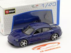 Porsche Taycan Turbo S Ano de construção 2019 azul escuro 1:43 Bburago