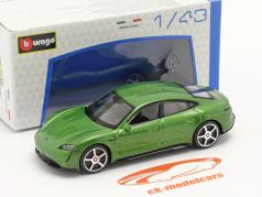 Porsche Taycan Turbo S 建設年 2019 緑 メタリック 1:43 Bburago