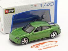 Porsche Taycan Turbo S bouwjaar 2019 groen metalen 1:43 Bburago