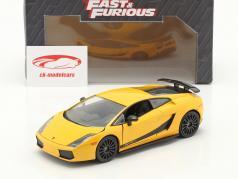 Lamborghini Gallardo Superleggera Fast & Furious 6 (2013) geel 1:24 Jada Speelgoed