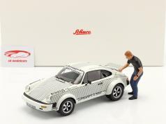 Porsche 911 Walter Röhrl x911 Met figuur Wit / zwart 1:18 Schuco