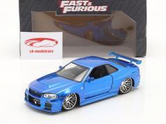 Brian´s Nissan Skyline GT-R (R34) Fast e Furious blu 1:24 Jada Toys