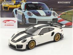 Porsche 911 (991 II) GT2 RS Weissach Package 2018 hvid / gylden fælge 1:18 Minichamps