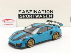 Porsche 911 (991 II) GT2 RS Weissach Package 2018 miami blå / gylden fælge 1:18 Minichamps